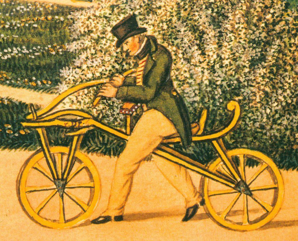 Karl von Drais auf Laufrad